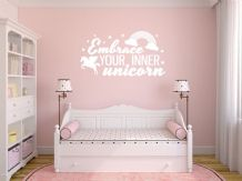 "Fantasy ""Embrace your inner unicorn"" Wall Sticker, Decal, Modern, Vinyl Sticker"